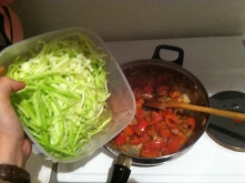 7. Here's the exciting part! Add all those glorious zucchini noodles!